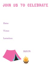 Campsite Pink Fill-In Invitations