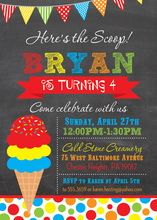 Here's the Scoop Ice Cream Chalkboard Invitations