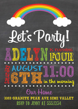 Rainbow Clouds Chalkboard Birthday Invitations