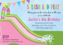 Girls Water Slide Birthday Party Invitations