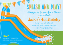 Boys Water Slide Birthday Party Invitations