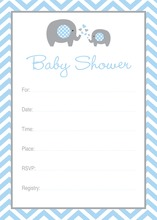 Blue Elephant Baby Shower Fill-in Invitations