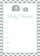 Mint Elephant Baby Shower Fill-in Invitations