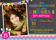 Bright Chevron Bowling Girl Photo Cards