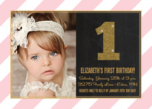 Gold Glitter Pink Stripes Photo Birthday Invitations