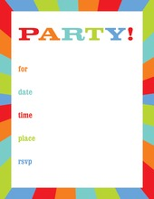 Multicolor Pinwheel Border Fill-in Invitations