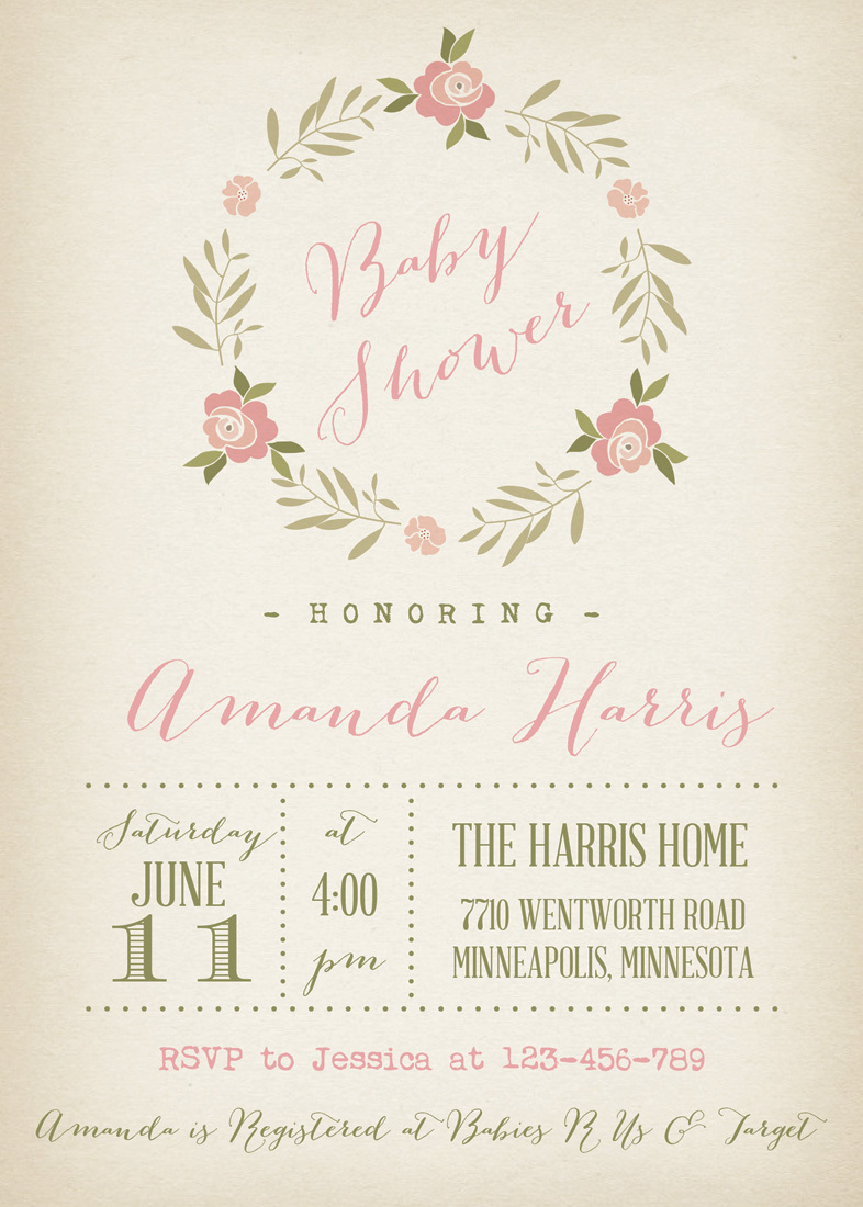 Rose Wreath Vintage Baby Shower Invitations