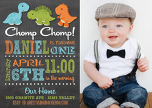 Multicolored Stripes Dinosaur Chalkboard Photo Invites