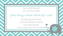 Teal Chevron Bring A Book Card