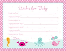Pink Polka Dots Sea Creatures Baby Wish Cards