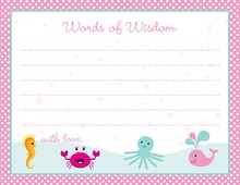 Pink Polka Dot Sea Creatures Advice Cards