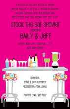 Modern Posh Bar Hot Pink Shower Invitations