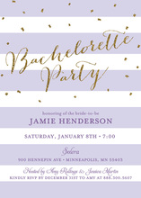 Lavender Stripes Gold Glitter Bachelorette Invites