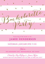 Pink Stripes Gold Glitter Bachelorette Invitations
