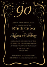 Another Year Another Birthday Black Gold Invitations