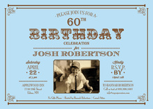 Light Blue Milestone Birthday Invitations