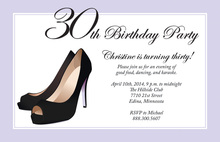 Formal Black Stiletto Heels Lavender Border Invitations
