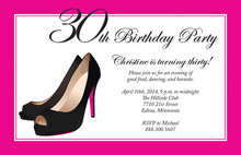 Formal Black Stiletto Heels Hot Pink Border Invitations