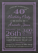 Purple Deco Borders Chalkboard Birthday Invitations