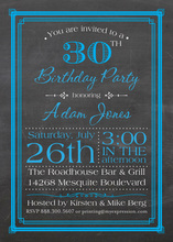 Blue Deco Borders Chalkboard Birthday Invitations