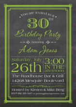Green Deco Borders Chalkboard Birthday Invitations