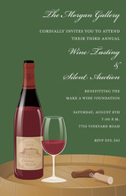 Glass Of Wine On Barrel Green Invitations