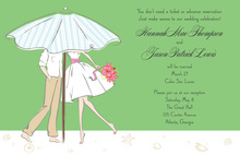 Dancing Modern Beach Couple Green Invitations