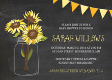 Mason Jar Sunflowers On Chalkboard Invitations