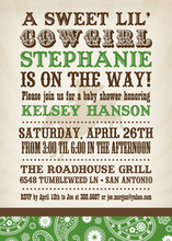 Sweet Green Bandana Cowgirl Invitations