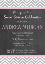Pink Trim Chalkboard Grey Zigzag Pattern Invitations
