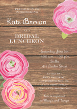 Pink Flower Rustic Wood Bridal Shower Invitations