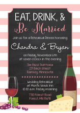 Pink Stripes Border Chalkboard Rehearsal Dinner Invitations