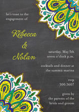 Vibrant Peacock Chalkboard Invitations