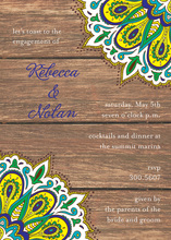 Vibrant Peacock Wood Invitations