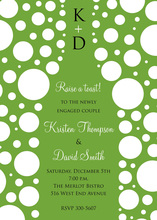Bubbles Green Champagne White Polka Dot Invitations