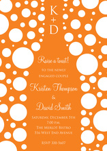 Bubbles Orange Champagne White Polka Dot Invitations