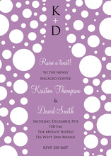 Bubbles Purple Champagne White Polka Dot Invitations