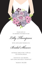 Beautiful Bouquet Bride Black Invitations