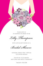 Beautiful Bouquet Bride Hot Pink Invitations