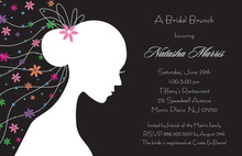 Romantique Bride Black Shower Invitations
