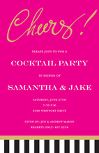 Just Say Cheers! Hot Pink Invitations