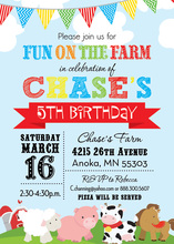 Fun Farm Blue Sky Invitations