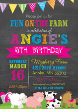 Fun Farm Magenta Chalkboard Invitations