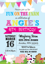Girls Fun Farm Blue Sky Invitations