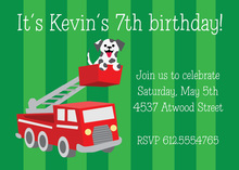 Dalmatian Puppy Fire Truck Green Stripes Invitation