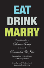 Black Eat Drink Marry Simple Invitations
