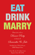 Holiday Red Eat Drink Marry Invitations