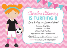 Pink Chevrons Redhead Soccer Girl Birthday Invitations