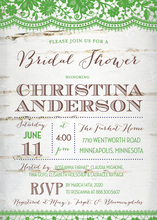 Coordinated Green Lace Over Birch Bridal Invitations