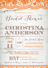 Coordinated Orange Lace Over Birch Bridal Invitations